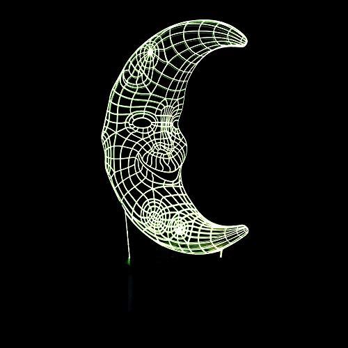 BFMBCHDJ Acryl geschnitzt kleine Tischlampe Mond 3D Art Light bunte Nachtlicht Crescent Face 3D Touch Light A3 schwarz Basis + Fernbedienung