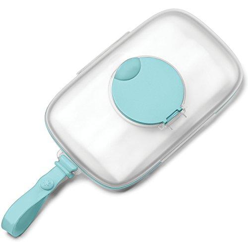 Skip Hop Grab und Go Feuchttücherbox, aus Silikon mit Klickverschluss, mit Silikondichtung, türkis