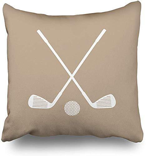 Bru565und Funda de almohada para deportes de golf en gris pardo y blanco, funda de almohada decorativa para el hogar, funda de cojín, sofá, cama, coche, casa con cremallera oculta en suave catoon, 45,7 x 45,7 cm