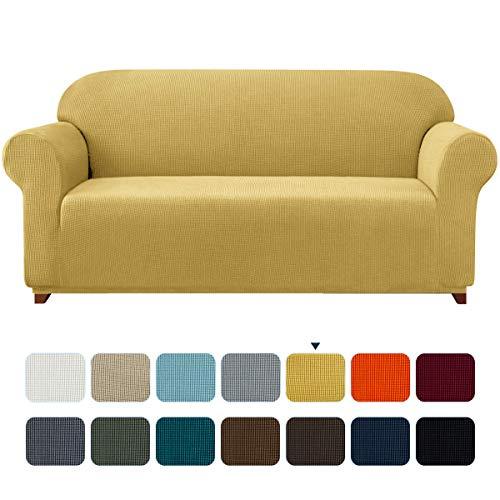 subrtex Spandex Sofabezug Stretch Sofahusse Couchbezug Sesselbezug Elastischer Antirutsch Stretchhusse für Sofa (3 Sitzer, Senfgelb)