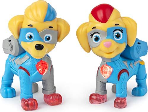PAW Patrol, Mighty Pups Super PAWs, Confezione con 2 Cuccioli Mighty Twins che si Illuminano, per Bambini dai 3 Anni in su, 6054565