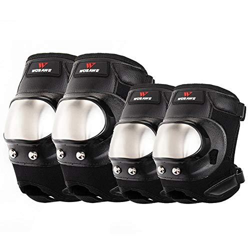 TBATM Knieschützer + Ellbogenschutz Motocross Roller Short Edelstahl Skating Ski Volleyball Arme Hockey Ski Anti-Fall-Schutzausrüstung 4-TLG