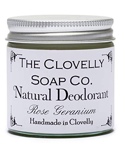 Clovelly Soap Co. Baume Déodorant Fait Main et Naturel - Géranium Rosat - Bocal en Verre 60 g