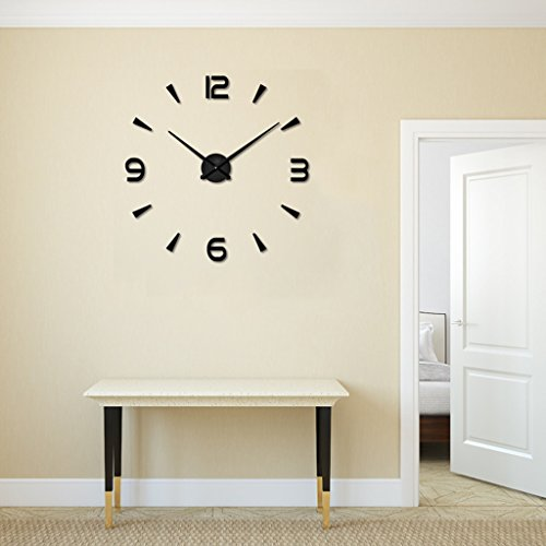 SESO UK- Creative 3D Horloge murale mode Acrylique miroir Numéros DIY grand rond stickers muraux Bureau Décor À La Maison (Couleur : Noir)
