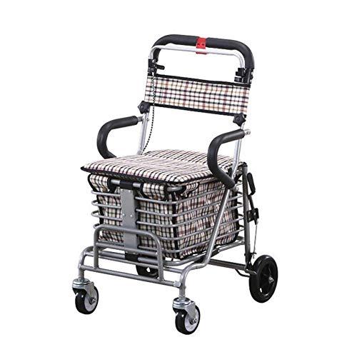 SXRNN Aluminium gehwagen Rollator klappbar mit Einer Sitzbremse Walker Trolley Komfortable Handgriffe Laden Sie 100 kg, Weißes Karo
