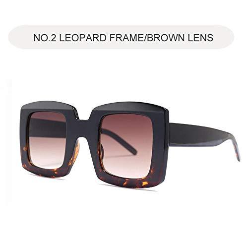 Modische Sonnenbrille Big Square Sonnenbrille Frauen Retro Klare Sonnenbrille Für Frauen Übergroße Schwarze Farben C2Leopard