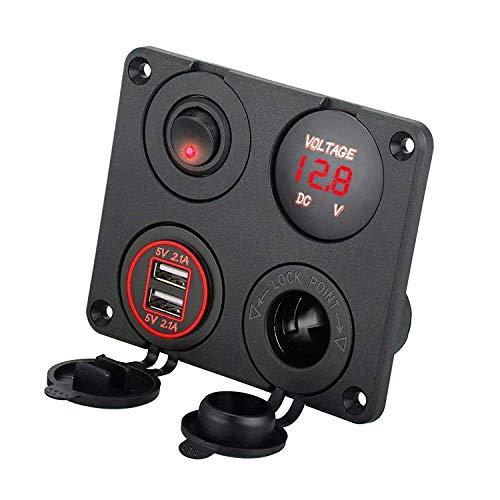 EEEKit 4 in 1 Ladegerät Schalter Panel, 12V 4.2A Dual-USB-Ladegerät-Steckdose, Rot LED-Voltmeter, ON/Off Schalter & Zigarettenanzünder Panel für Auto, Marine, Boots, LKW