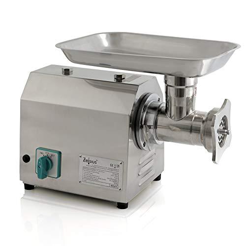 Zelsius Profi Fleischwolf elektrisch I Faschiermaschine aus Edelstahl, Wurstmaschine in Gastro Qualität I Fleischmaschine mit Wurstfüller (750W - 150kg/h)
