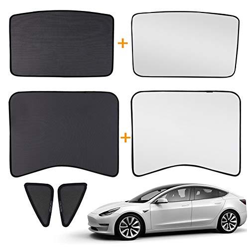 Mustbe Strong Glasdach Sonnenschutz, Halb Covered Schiebedach UV-Strahlen Schutz Mit Dreiecksfenstern Sonnenschutz Und Wärmedämmung Film Für Tesla Model 3 (Set Von 6 Stück)