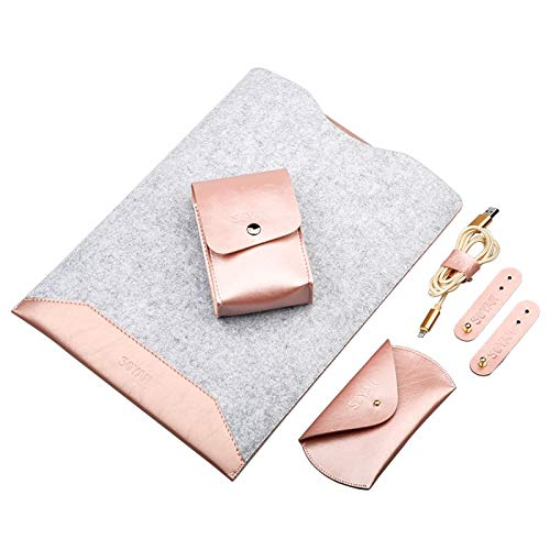 CAIFENG Phone Cover Case 4 in 1 Laptop Crazy Horse Texture Fur Felt Inner Bag + Power Bag + Mouse Storage Bag + 3 Earphone Cable Winders for MacBook Air Retina 13.3 inch (2018) Protective Shell