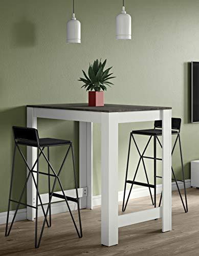 Symbiosis Sullens , Tavolo bar, Bianco (Bianco/Effetto cemento), 110 x 70 x 102 cm