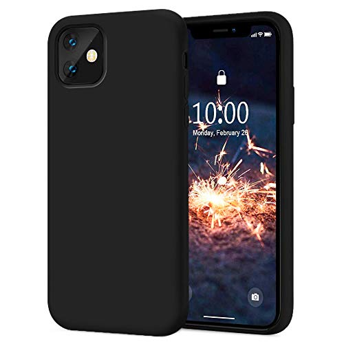 KUMEEK iPhone 11 Case, Soft Silicone Gel Rubber Bumper Case Anti-Scratch Microfiber Lining Hard Shell Shockproof Full-Body Protective Case Cover for iPhone 11-Black