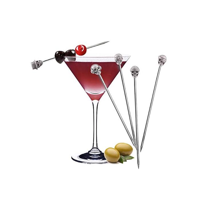 Yes Time Skull Cocktail Picks Martini Picks Reusable Olive Picks Garnish Skewer Fruit Toothpicks Pack Of 10 Antique Silver