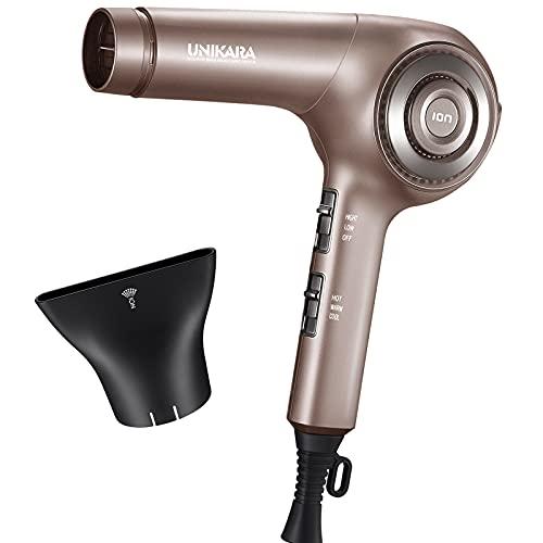Professional Ionic Hair Dryer, Ceramic Tourmaline Blow Dryer, Aero DC Motor 1875 Watt Salon Hairdryer with Nozzle Concentrator Attchment - UNIKARA Lightweight Quiet Pro Ion Hair Dryers for Women Men