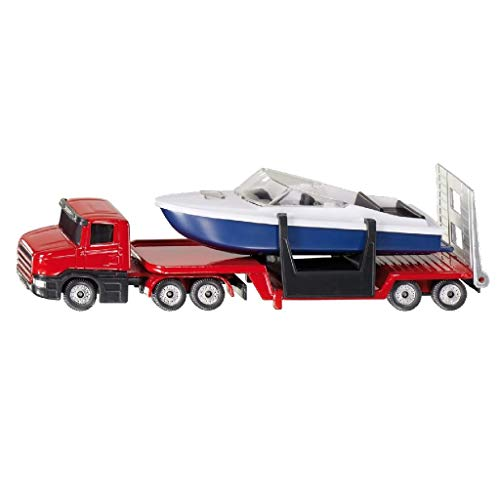Siku 1613, Tieflader mit Boot, Metall/Kunststoff, rot/blau/weiß, Öffenbare Heckklappe, Schwimmfähiges Boot