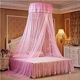 NO LOGO HWW-Net Princesa Hanging Round Lace Canopy Bed Netting Cómodo Estudiante Dome Mosquito Net para Cuna Twin Cama Queen Completa (Color : Pink)