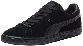 PUMA Suede Classic Leather Formstrip Sneaker,Black/Black,8 D M  US