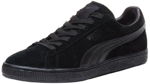 PUMA Suede Classic Leather Formstripe Sneaker,Black/Black,9.5 D(M) US