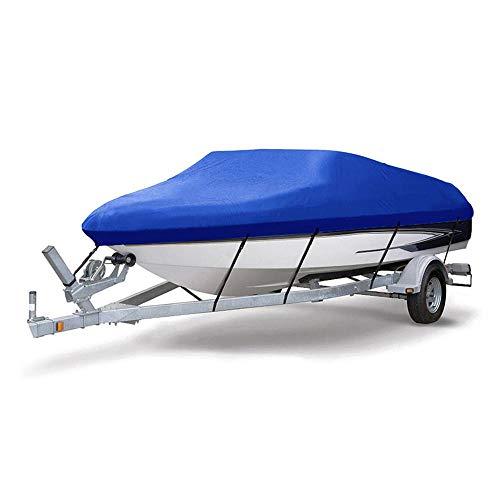 KKmoon Funda Barco Impermeable 20-22FT (7x 2.6M) Funda Lancha Motora 300D Oxford Tela Anti-uv Antipolvo,con Hebilla Antiviento,con Bolsa,Azul