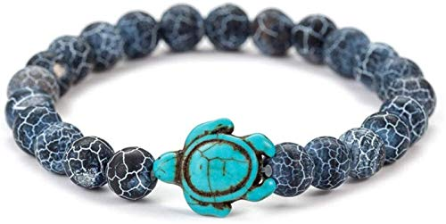 Plztou Stone Bracelet Women,7 Chakra Natural Stone Bead Turquoise Turtle Bracelet Lucky Yoga Black Elastic Bangle Fashion Elegant Jewelry For Ladies