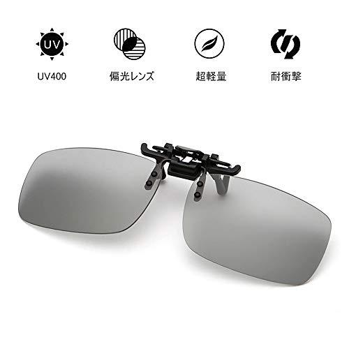ZEWAYEL 偏光サングラス クリップオンサングラス UV400 紫外線カット 軽量 メタルフレーム スポーツサングラス 運転 野球 自転車 釣り ランニング ゴルフ (ブラック(円形))