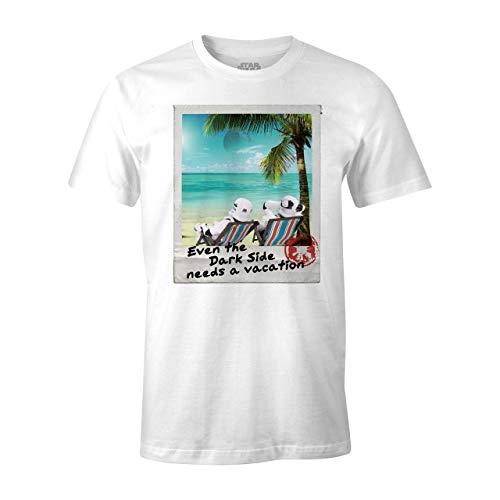Star Wars Camiseta de Hombre Dark Side Vacation Stormtrooper algodón Blanco - XXL