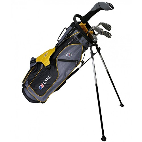 U.S. Kids 2017 Golf Ultra Light, 5 Club Carry Golf Set with Bag, Grey/Gold, Right Hand...
