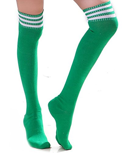 HugeStore Damen Frauen Lange Streifen Socken Overknee Strümpfe Kniestrumpfe Strumpfhose Socken Grün Weiß