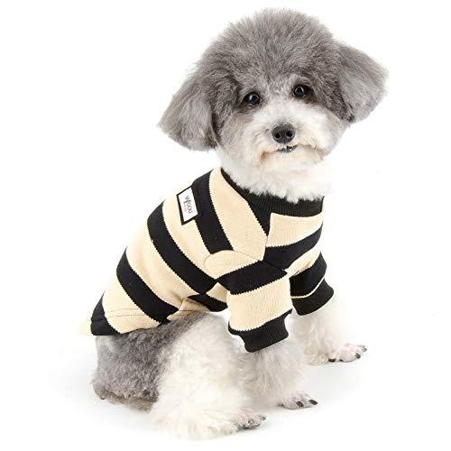 ZUNEA Kleiner Hund Pullover Wintermäntel Warm Strickpullover Welpen Kleidung Weiche Baumwolle Gestreifte Haustier Strickwaren Chihuahua Doggie Jacke Bekleidung für Hunde Mädchen Jungen Schwarz S
