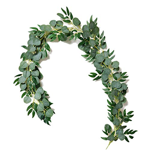 KAISILIN 6ft Artificial Blended Faux Silver Dollar Eucalyptus and Willow Leaves Vines,Artificial Eucalyptus Willow Leaves Garland Handmade Garland Leaves Greenery Wedding Backdrop Arch Wall Decor