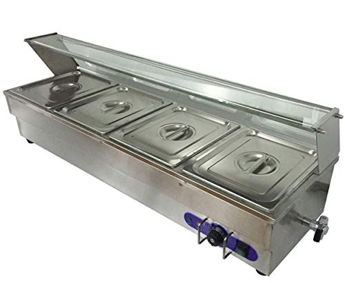 INTBUYING 4 Well Food Warmer Stainless Steel Buffet Bain-Marie Countertop Steam Table 1/2 Pan 1500W 110V Restaurant Warming