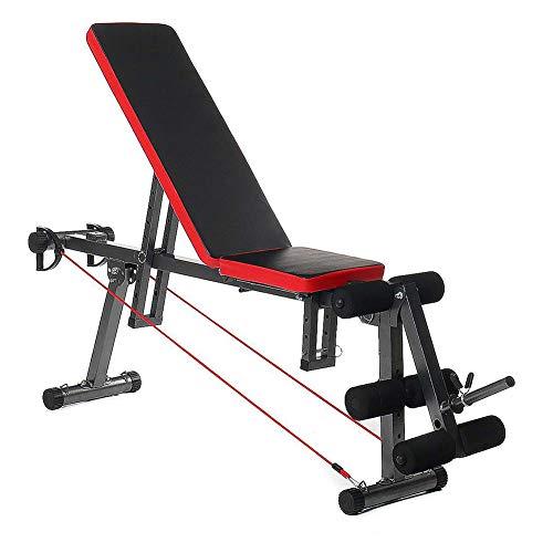 DMZH Zuhause Fitnessstudio Multifunktional Hantelbank, Verstellbare Sitzbank Multi-Position Komfortabel Stabil Dauerhaft Stahl Fitness Workout Bank