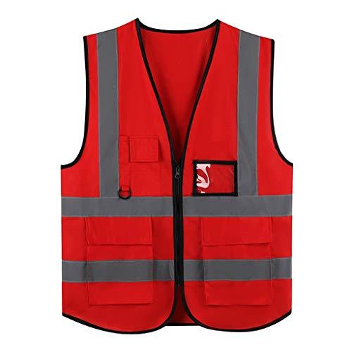 DBL Chaleco rojo de alta visibilidad Cómodo, transpirable, ropa de trabajo multibolsillo Chaleco reflectante de seguridad Viajar por la noche Construcción de edificios Seguridad Unisex chalecos de seg