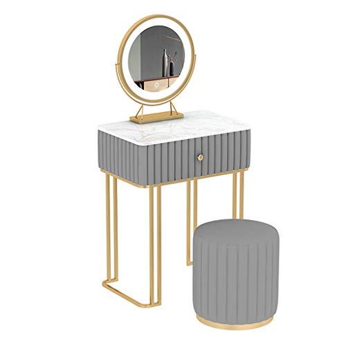 SHENXINCI Flanell Schminktisch mit Hocker und Spiegel, Frisiertisch Set, Frisierkommode weiß, Kosmetiktisch mit 4 Schubladen, Schminkkommode und Schminkhocker aus Holz