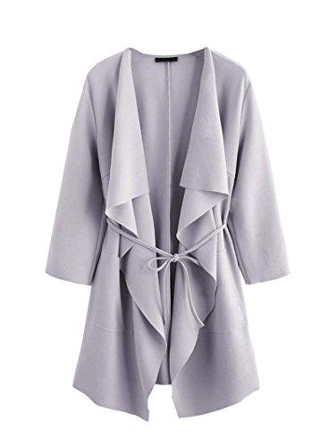 ROMWE Damen Leicht Mantel mit Wasserfallkragen Kordel Tasche Locker Knielang Outwear Jacke Hell Violett L