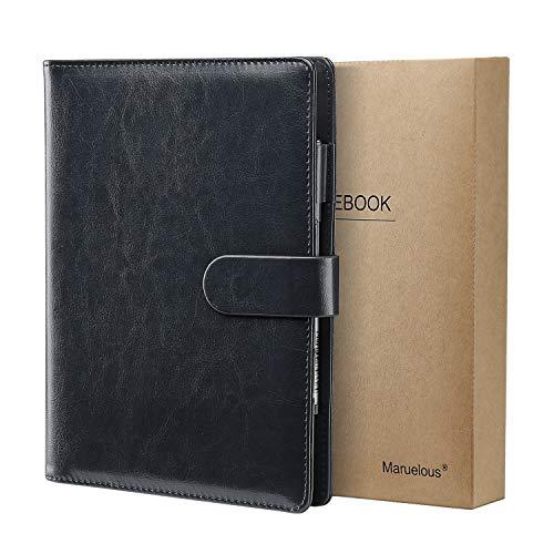 Cuaderno de Cuero A5, Maruelous Libreta Recargable, Cuaderno de Negocios, Notebook de Reuniones, Rayas/Lined Clásico con Bolsillo y Bolígrafos Bucle, 100 hojas de papel 100gsm, (Negro)