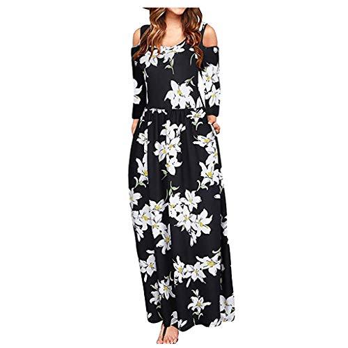 FEISI22㉿ Women Floral Print Off Shoulder Maxi Dresses Cold Shoulder Long Sleeve Tops Evening Party Cocktail Dress Black