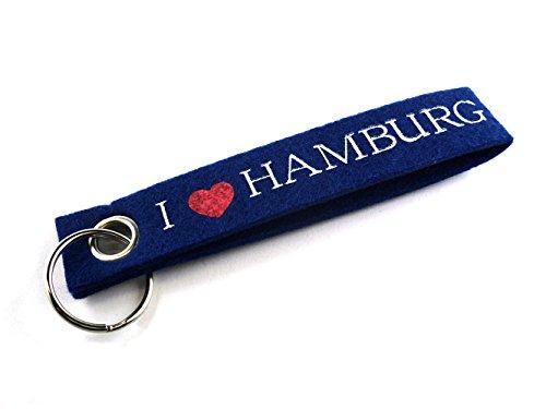City Souvenir Shop Filz-Schlüsselanhänger I Love Hamburg, blau