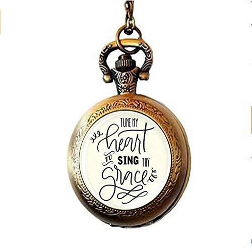 Tune My Heart to Sing Thy Grace Taschenuhr, Halskette, inspirierendes Geschenk, christlicher Schmuck