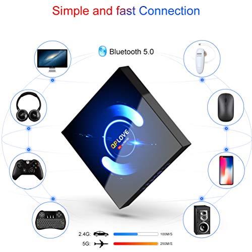 QPLOVE Android 10.0 TV Box 4GB RAM 32GB ROM H616 Quad Core /H.265/ LAN 100/ WiFi 2.4+5.0GHz/ BT 5.0/ H.265/HDR Unterstützt 3D 6K Full HD Smart TV Box