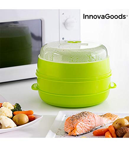 InnovaGoods | Vaporera doble Fresh para microondas | verde | 22 x 12 cm