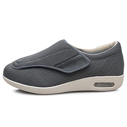CCSSWW Zapatos Hinchados Edema De Artritis,Zapatos DiabéTicos para Hombre Ajustable-Gris_41,Zapatos Anchos Hinchados para Hombres