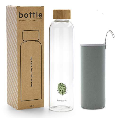 homeberlin® Premium Glasflasche in 750ml mit Schutzhülle - Trinkflasche aus Glas für unterwegs mit Bambusdeckel für Sport, Büro und Kinder in Geschenkbox