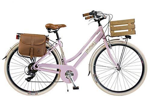 Via Veneto by Canellini Bici Bicicletta retrò Vintage Alluminio Donna con Cassetta + Borse + Campanello Via Veneto (46, Rosa)