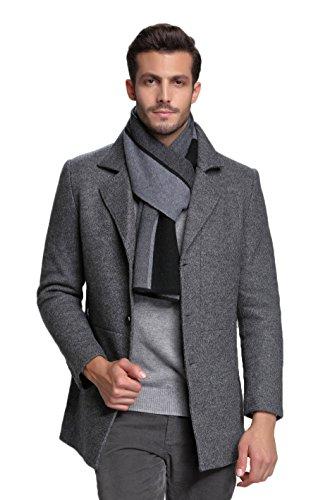RIONA Herren 100% Australischen Merino-Wolle-Schal-Weiche Warme Krawatten Strick einheitsgröße 9132_Schwarz