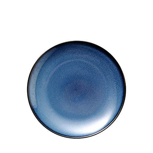 LHQ-HQ La Fruta de cerámica Creativa Occidental Placa de Ensalada Europea Disco Disco Azul vajilla casero Horno Dark Blue Indigo 9 Pulgadas