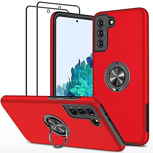 SmaCase Funda Compatible con Samsung Galaxy S21 Plus Carcasa +2 Piezas Protector de Pantalla 360 Grados Anillo Giratorio para Soporte -...