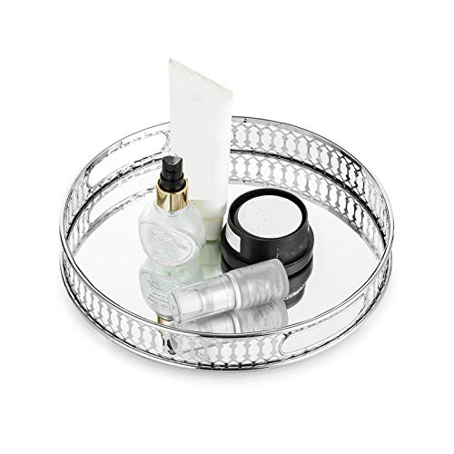 Nuptio Mirrored Glass Make up Tray 25cm Dia, Silver Round Decorative Tray Candle Plate Jewelry Tray Storage Organizer Mirror Vanity Tray for Coffee Table Dresser Bathroom Bedroom Home Decor