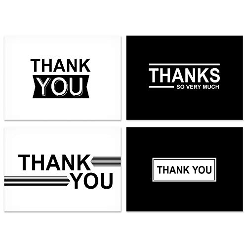 Hallmark Thank You Cards Assortment, Black and White Thanks (48 Cards with Envelopes for All Occasions)