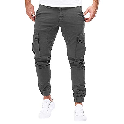 Subfamily Pantalones de Herramientas Deportivas Casuales Multibolsillos de Color Liso para Hombre Azul Marino, Pure Color Pocket Overol Casual Pocket Sport Work Pantalones de Pantalón Casuales